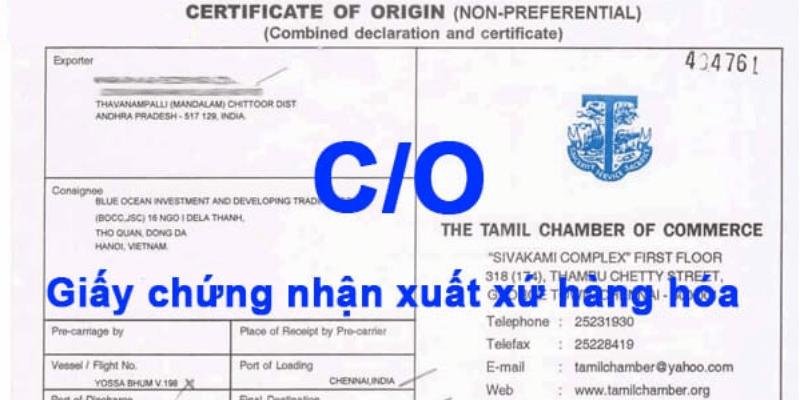giấy chứng nhận xuất xứ co là gì